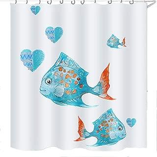 Jcoze Bathroom Curtains, Funny Animals Cartoon Pattern Polyester Shower Curtain Waterpoof Mildew 12 Hook Bath Curtain Print Fish