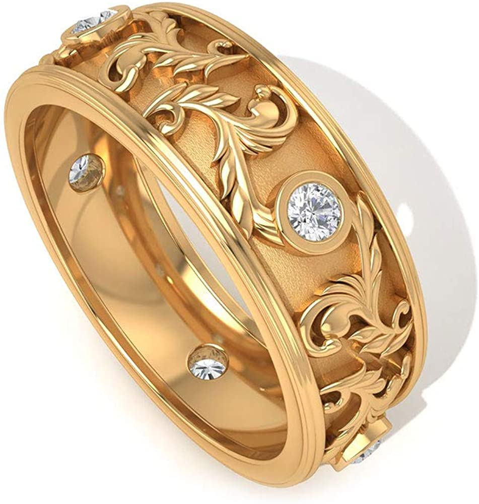Wide Moissanite Floral Band Ring (AAA Quality), 14K Gold