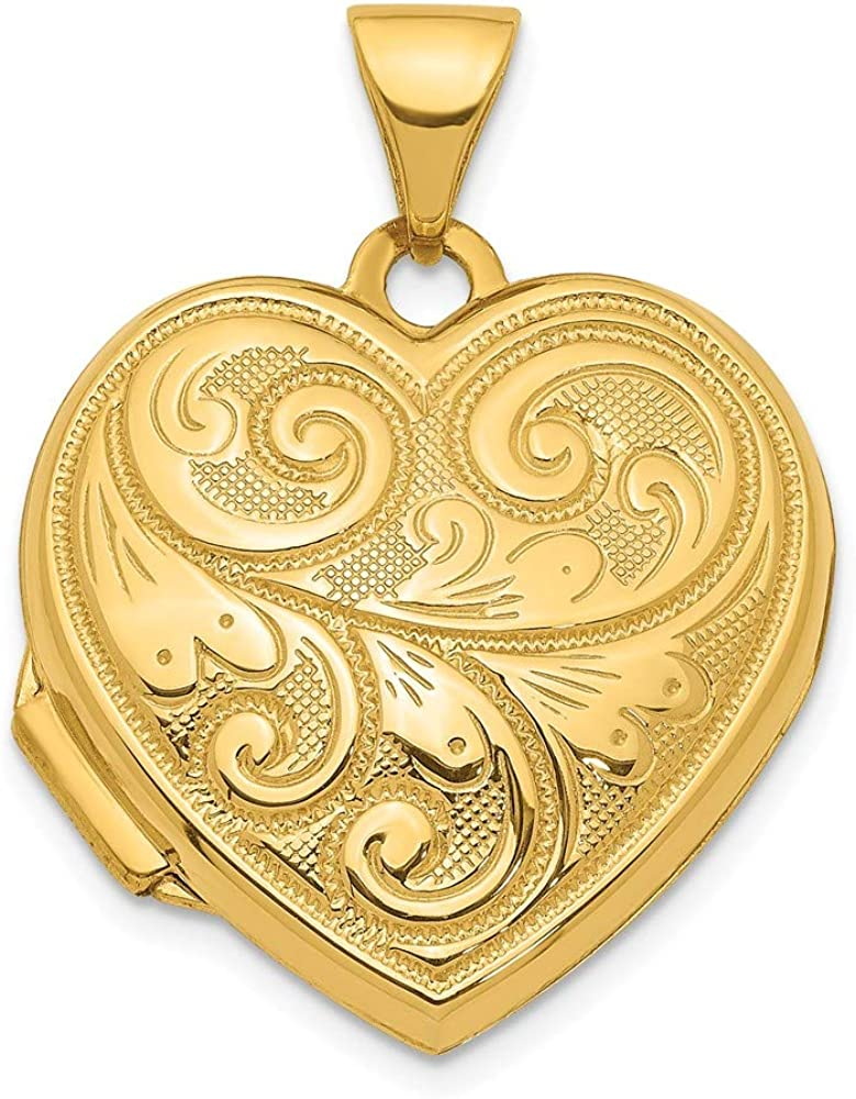 14k Yellow Gold 19mm Scroll Design Reversible Heart Locket Pendant Charm Necklace Fine Jewelry For Women Gifts For Her