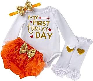 Swyss My First Thanksgiving Newborn Baby Girls Romper + Shiny Ruffled Shorts + Hairband + Leg Warmer 4PC Outfits Set
