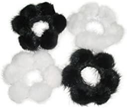 FursNewYork Mink Pom-Pom Scrunchies in Black & Ivory White Colors (Set of 2,4,6,12)