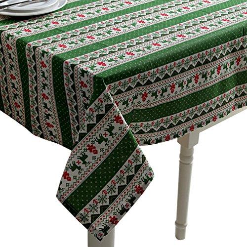 YOUJIA Rectangulaire Nappe de Table Faux Coton Lin Flocon de Neige Renne Housses Linge de Table pour la Maison Hôtel Cafe Restaurant (Xmas Vert, 140 * 250cm)