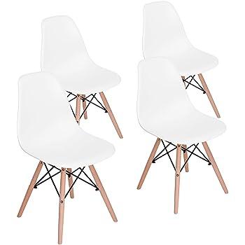 FurnitureR Eames Set de 4 Diseño Moderno Silla de Comedor con Asiento de PP y Patas de Madera Natural Beech sin Brazos para Comedor Blanca