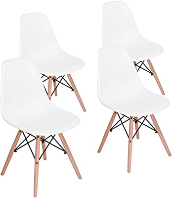 Dining Chairs Furniturer INC Set of 6 Eiffel Style Side Chairs Modern Plastic Cover Wood Legs for Kitchen Dining Room Living Room