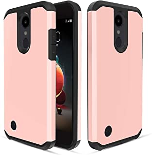 LG Aristo 2/Rebel 4 LTE/Tribute Empire/Dynasty/Aristo 3/3 Plus/Zone 4/Fortune 2/K8S/K8+Plus 2018/Risio 3/Phoenix 4 Case,Dual Layer Heavy Duty Silicone Shockproof Phone Cover for Women/Girls,Rose Gold