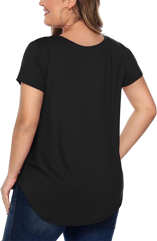 Amoretu Women's Plus Size Tops Short Sleeve Criss Cross V Neck T-Shirt