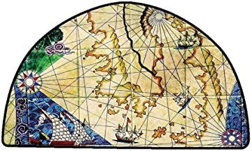 Anti Slip House Kitchen Door Area Rug Compass,Old Nautical Chart Ancient Map Historical Territories Geographical Illustration,Beige Navy,W30