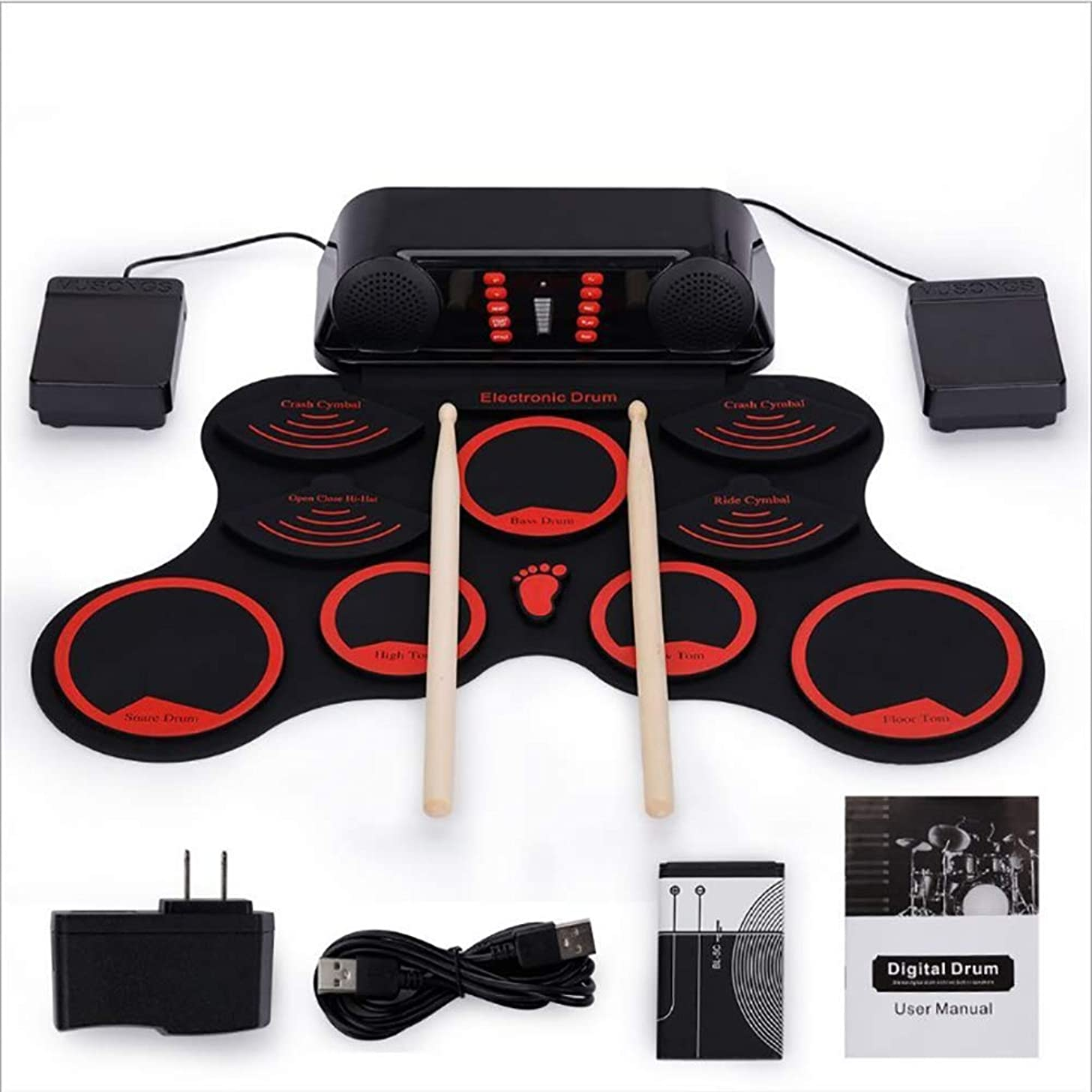 NUYI Hand Roll Electronic Drum 9 Pad Roll Up Drum Kit Children's Percussion