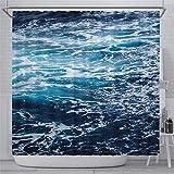 DONL9BAUER Ozeanblauer Duschvorhang Wasserbad Vorhang Wasserdicht Badewanne Dekor mit Rutschring Haken für Badezimmer Küche Heimdekoration 150 x 180 cm