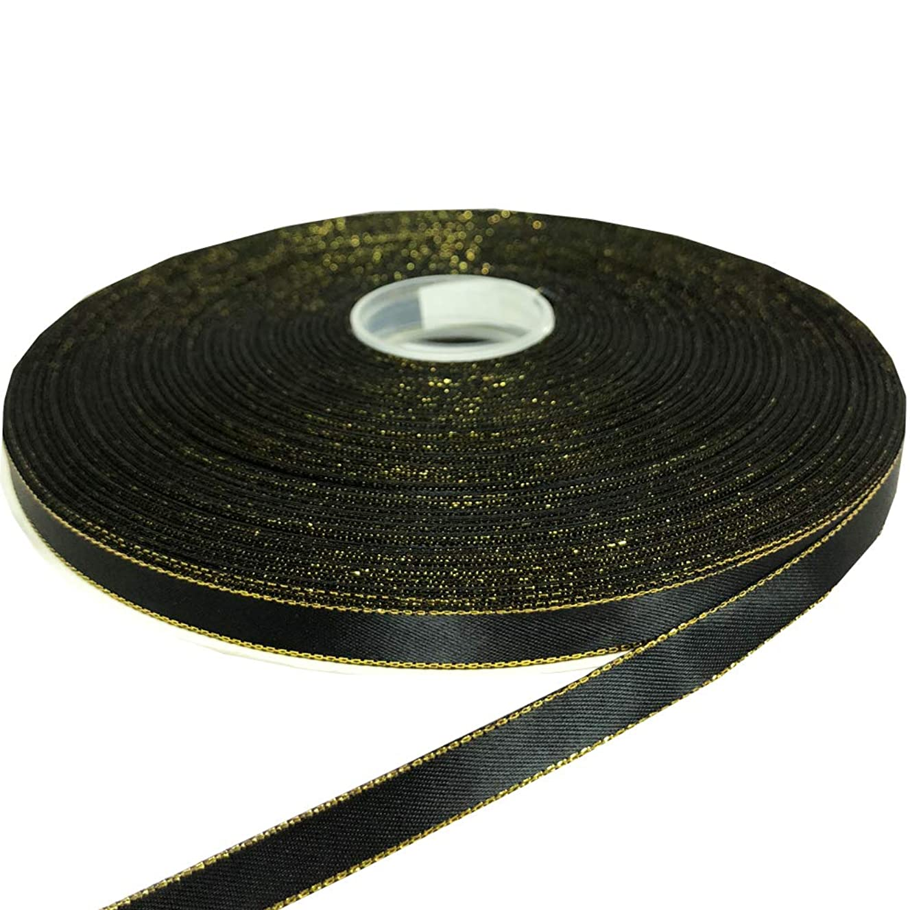 PartyMart 3/8 Inch Satin Ribbon with Golden Edges, 100 YDS, Black