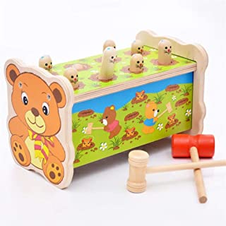NZQSDC Cute baby bear style hamster wooden toy game playing hammer hitting reduced pressure educational toys for children ...