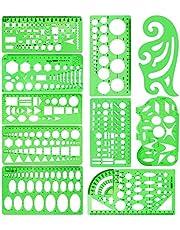 10 stycken som mäter plastmallar Cirkelmall Geometriska ritmallar Byggnadssmycken Design Formwork Linjaler Klargröna uppsättningar för kontor och skola.