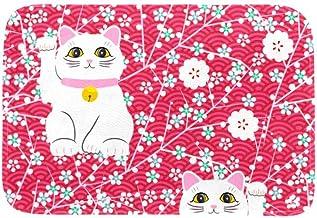 EGGDIOQ Doormats White Lucky Cat Custom Print Bathroom Mat Waterproof Fabric Kitchen Entrance Rug, 23.6 x 15.7in