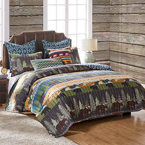 Greenland Home Black Bear Lodge Quilt Set, 5-Piece Full/Queen, Multi
