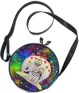 Ahomy Runde Tasche klein für Frauen – Galaxy Nebel Sternennebel Elefant Eule Regenbogen Damen Mode Crossbody Tasche Umhäng...