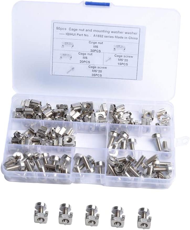 Kesoto 50Sets M5 x 20mm Screws and Cage Nuts for Server Shelf Cabinets Rack Mount Screw