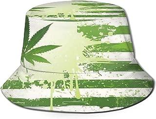 Fisherman Hat Cannabis Leaf Flag Sun Hat Women Men Eye Protect Breathable Bonnie Cap 3D Printed Beach Hat Durable&Reversible for Summer Outdoor