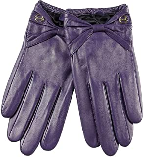 SHENTIANWEI Leather Gloves Ladies Thin Bow Temperament Gloves (Color : Purple, Size : L)