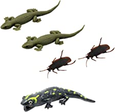 Tootpado Real Looking House Gecko Rubber Lizard Toy, Cockroach and Salamander - (Pack of 5)