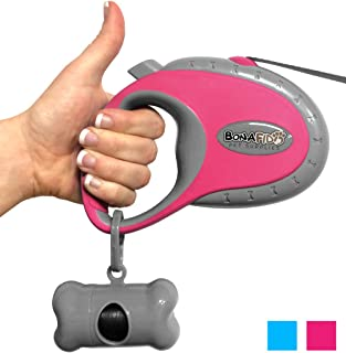Retractable Dog Leash - Free Bonus Waste Bag Holder & 2 Free eGuides - 16' NO Burn Lead - Pets up to 44 lbs - Easy One Button Brake & Lock Safety System - Large Ergonomic Handle - Built to Last!