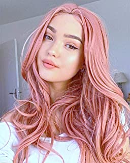 AOZWIG Long Wavy Orange Pink Heat Resistant Fiber Synthetic Wig Natural Looking Middle Part Cosplay Wigs for Charming Women Girls Wave Wig 22 Inch