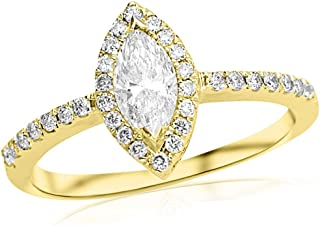 1 Carat 14K White Gold Halo Marquise Cut Diamond Engagement Ring (0.46 Ct E Color SI1 Clarity Center Stone)