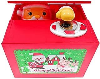 YYaaloa Christmas Saving Money Box,Musical Mischief Santa Stealing Coin Piggy Bank Coin Storage Pot for Xmas Coins Bank for Kids (Santa)