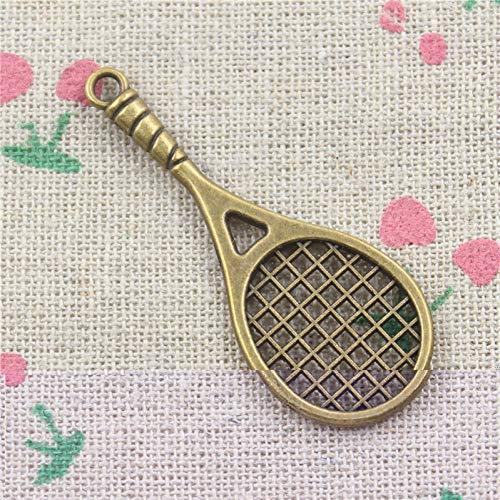 LKJHG 10 Piezas deBronce Antiguo Raqueta de Tenis encantos Collar Colgante Hecho a Mano 48 * 19 mm