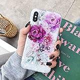 HUAI Caso de Shell Textura de la Flor del teléfono for el iPhone 11 Pro XR XS MAX 6 7 8 Plus 6S Suave IMD Dedo anular de Cristal Cubierta Trasera del teléfono (Color : K, Material : For iPhone XR)