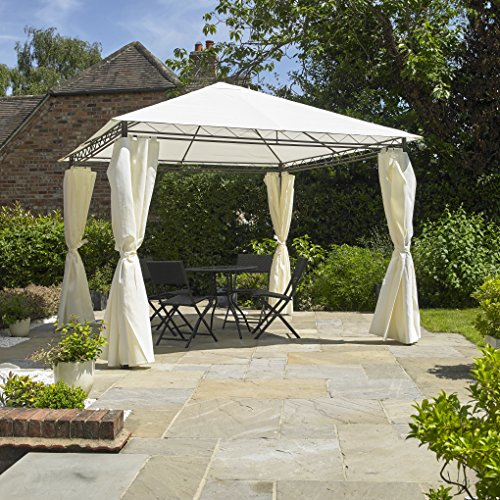 Kingfisher Heavy Duty Garden Gazebo with Side Curtains