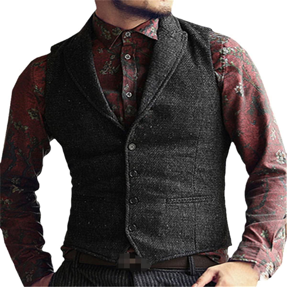 Men's Suit Vest V-neck Herringbone Formal Business Vest Slim Vest Vest Best Man Wedding Best Man