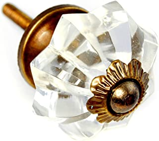 Fancy Clear Glass Cabinet Knobs, Dresser Drawer Handles & Pull 6pc K223VF Melon Shaped Hand Cut Glass Knobs for Armoire, Kitchen Cabinets, Cupboards and Second Hand Furniture. Romantic Decor & More