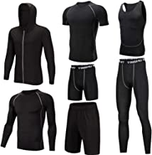 Trainingskleidung für Herren Compression Long Sleeve Shirt, Compression Enge Hose Compression Kurzarm T-Shirt, lose Shorts Compression Enge Shorts Ärmelloses T-Shirt 7-tlg für Radfahren Laufen Gym Fit