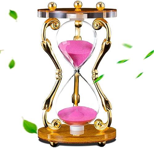 YONGYONG Metall-Sanduhr-Timer-Büro Zu Hause Europ che Kreative 30 Minuten Timing High-End-Ornamente Freunde Urlaub Geschenke (Farbe   Rosa, Größe   A-11.3  20.6cm)