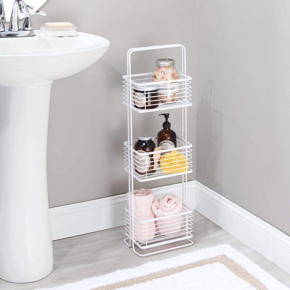 Amazon.de mDesign Badezimmer Regal – schmales Badregal mit drei ...