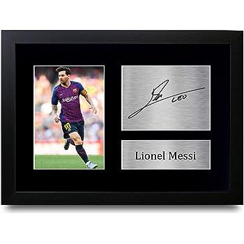 HWC Trading Lionel Messi A4 Enmarcado Regalo De Visualización De Fotos De Impresión De Imagen Impresa Autógrafo Firmado por Barcelona Los Aficionados Al Fútbol: Amazon.es: Hogar