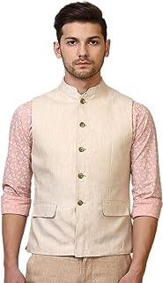 WINTAGE Men's 100% Linen Festive and Casual Nehru Jacket Vest Waistcoat : Multiple Colors