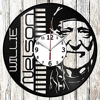Willie Nelson Vinyl Record Wall Clock Home Art Decor Unique Design Handmade Original Gift Vinyl Clock Black Exclusive Clock Fan Art