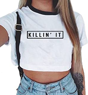 Women Summer Funny Letter Short Sleeve Cotton T Shirts Crop Top Tee Clothes