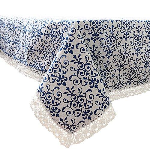 Serviettes de table en porcelaine Bleu et blanc en coton et lin Dentelle Nappe 100 x 140 cm, Tissu, 140*200cm