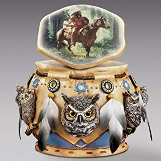 Bradford Exchange American Indian Spirit of The Owl Sculpture Keepsake Box