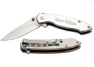 ForeverGiftsusa Free Engraving - Stainless Steel Brushed Silver Pocket Knife