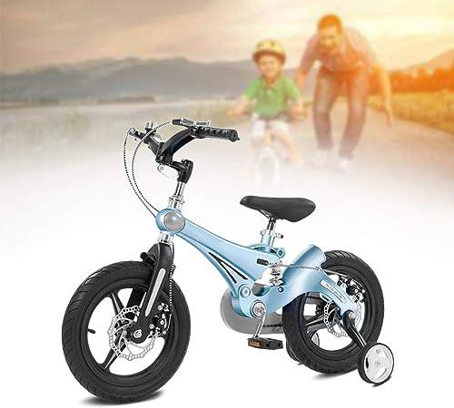 diseño único Q&J Bicicleta para Niños con aleación de magnesio, magnesio, magnesio, Bicicleta de Calidad con Resorte de Amortiguador, Manillar y sillín Ajustables en Altura, Ruedas de Soporte extraíbles,azul,12zoll  barato