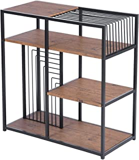 4 Tier Modern Bookshelf Industrial Bookcase Line Design Storage Shelf for Study Home Office Furniture-Brown
