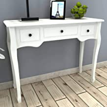 vidaXL Dressing Console Table with 3 Drawers White Hall Sideboard Makeup Desk