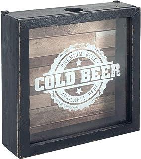 """Adorno Pared Decorativo de Madera y Cristal """"Caja Chapas Cold Beer"""". Cuadros y Apliques. Cerveza. Regalos Originales. Deco..."""