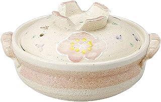 BBZZ Marmite japonaise ronde en céramique avec couvercle imprimé en argile résistant à la chaleur Sakura, 1,5 l