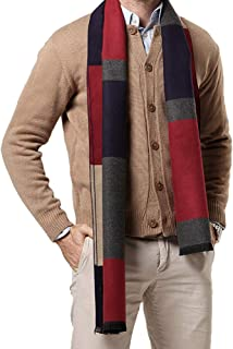 Men Business Cashmere Long Scarf Autumn Winter Warm Plaid Neck Wrap Shawl