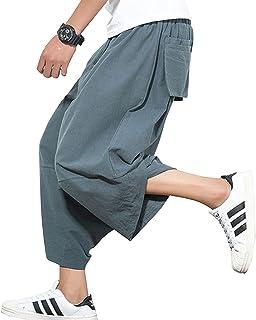 Sikimennzi パンツ メンズ サルエル ハーフ スウェット 綿麻 ゴム 紐 ポケット付け ファション カジュアル ズボン 通勤通学 旅行 パーディー 個性的 ヒップホップ系 パンツズボン 男女兼用