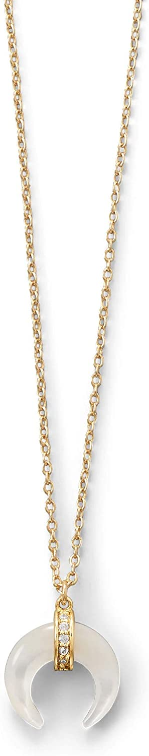 Naja Crescent Necklace NEW before selling ☆ Special price for a limited time Mother of Cubic Pearl 14k Gold-p Zirconia